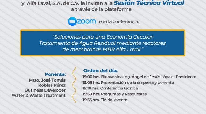 Conferencia – Soluciones para una Economía Circular: Tratamiento de Agua Residual mediante reactores de membrana MBR Alfa Laval (SMAAC)