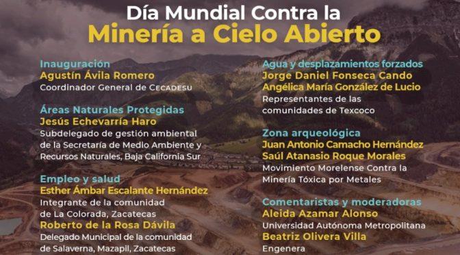 Foro – Día mundial contra la minería a cielo abierto. (Semarnat, Maestría en Sociedades Sustenables y Sociedad Mesoamericana y del Caribe de Economía Ecológica)