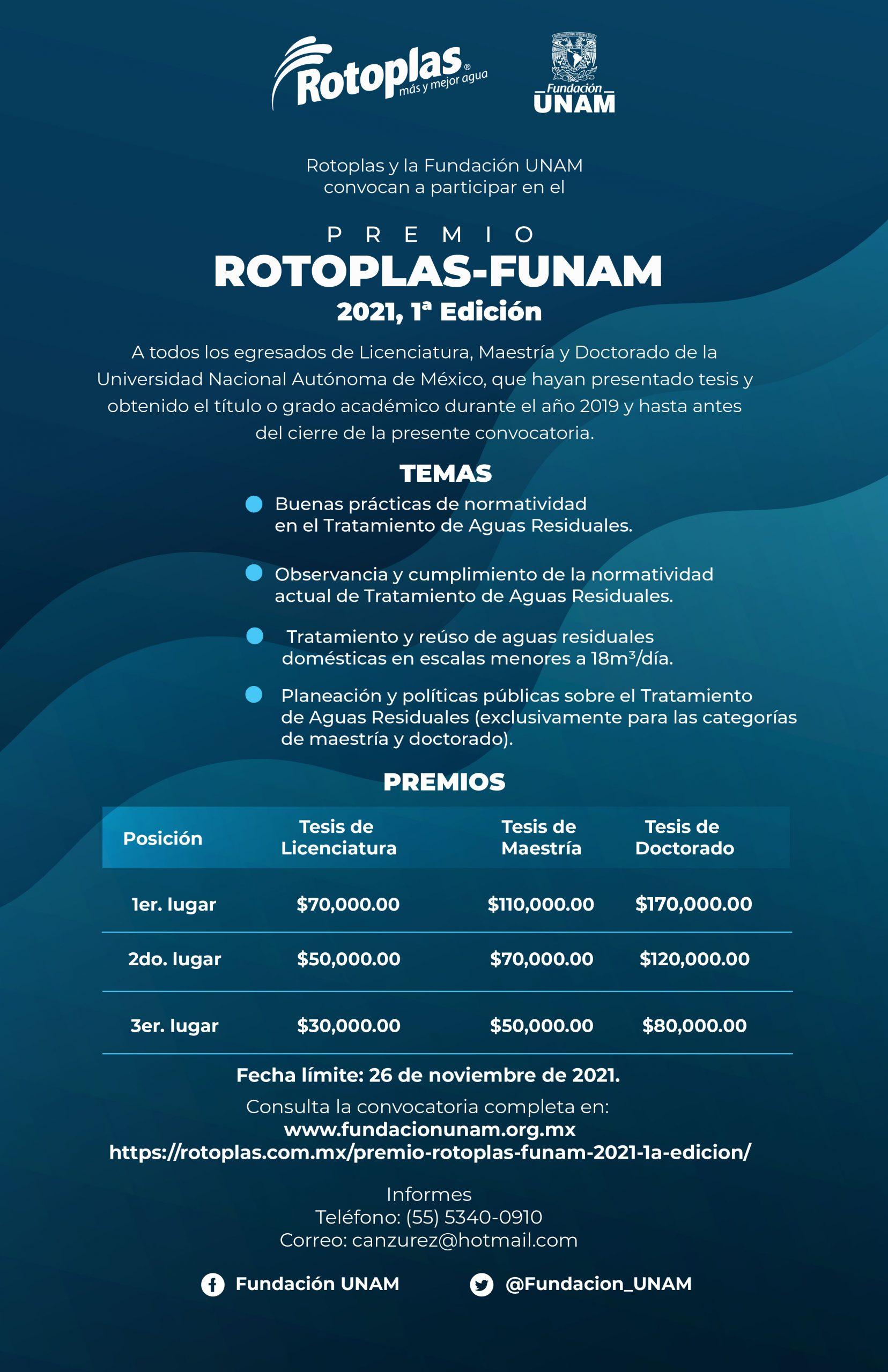 Fundación UNAM anuncia las bases para la primera edición del Premio Rotoplas-FUNAM 2021
