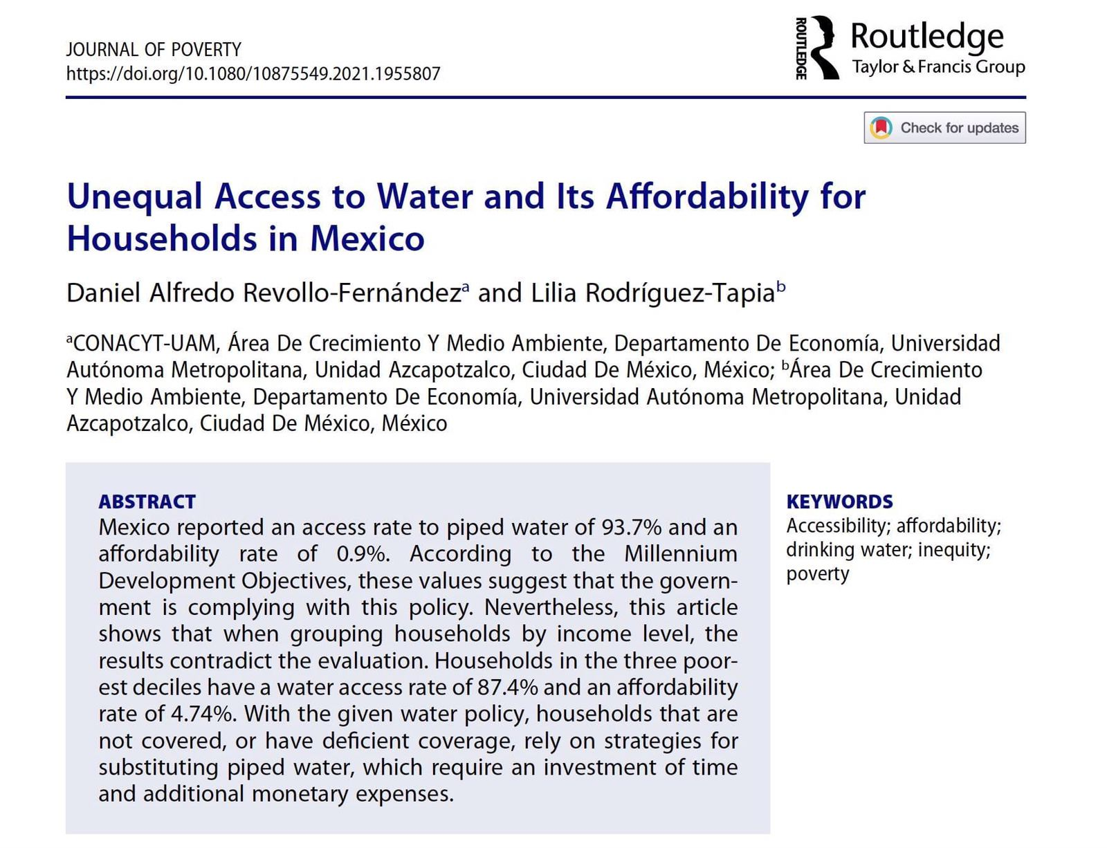 Unequal Access to Water and Its Affordability for Households in Mexico (Journal Poverty)