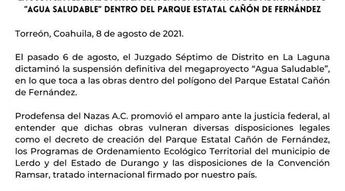 """México-Dictan suspensión definitiva del proyecto """"Agua Saludable para La Laguna"""" (El Universal)"""