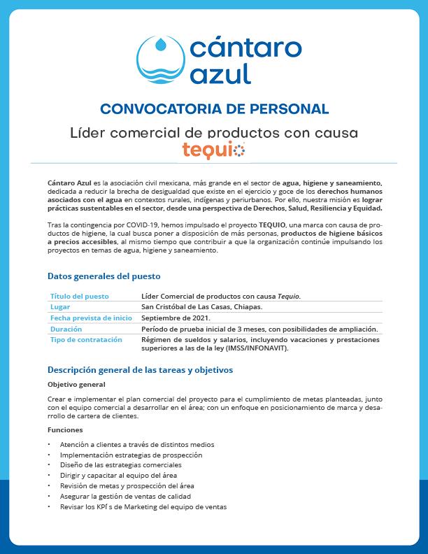 Convocatoria de personal – Líder comercial de productos con causa (Cántaro Azul)